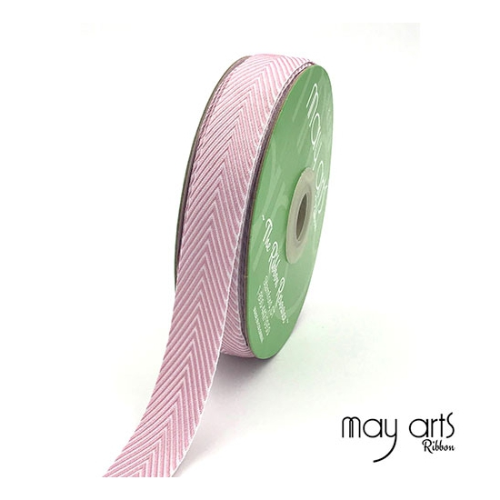 May Arts Twill Chevron Stripe Ribbon with Woven Edge Mauve