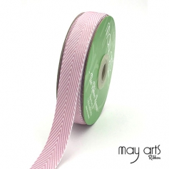 May Arts Twill Chevron Stripe Ribbon with Woven Edge Mauve