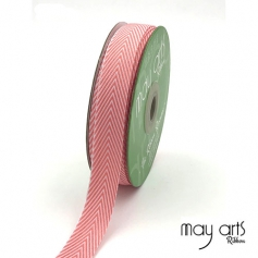 May Arts Twill Chevron Stripe Ribbon with Woven Edge Pink