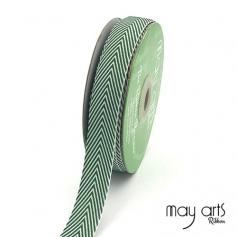 May Arts Twill Chevron Stripe Ribbon with Woven Edge Green
