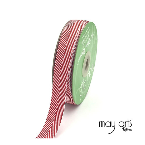 May Arts Twill Chevron Stripe Ribbon with Woven Edge Red