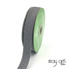 May Arts Twill Chevron Stripe Ribbon with Woven Edge Black