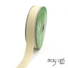 May Arts Twill Chevron Stripe Ribbon with Woven Edge Champagne