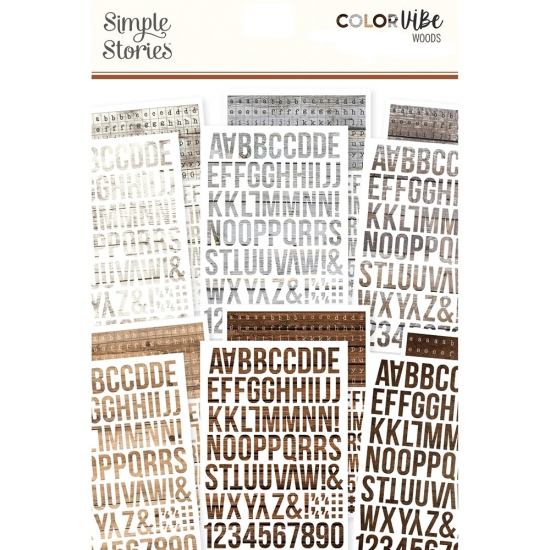 Simple Stories Alphabet Sticker Sheets Woods Set 3 Color Vibe Collection
