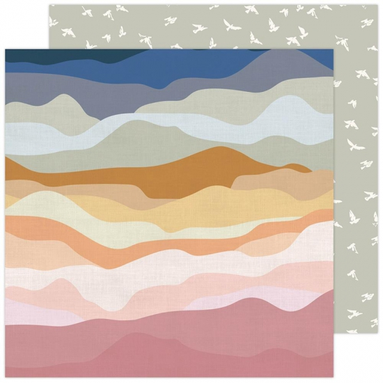 Pebbles Double Sided Cardstock sheet 12x12 inch Vistas Peaceful Heart Collection by Jen Hadfield