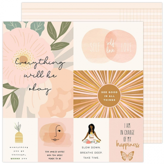 Pebbles Double-Sided Cardstock sheet 12x12 inch Good Things Peaceful Heart Collection by Jen Hadfield