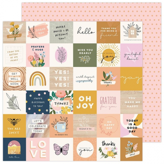 Pebbles Double-Sided Cardstock sheet 12x12 inch Day By Day Peaceful Heart Collection by Jen Hadfield
