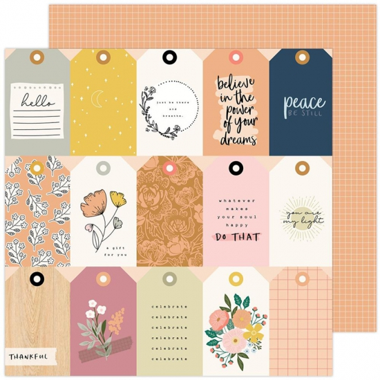 Pebbles Double-Sided Cardstock sheet 12x12 inch Thankful Peaceful Heart Collection by Jen Hadfield