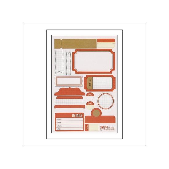 Simple Stories Label Stickers Orange Snap Studio Collection