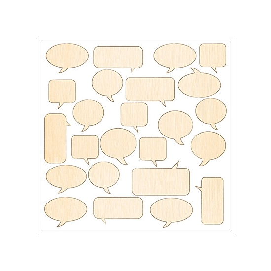 Studio Calico Wood Veneer Speech Bubbles Snippets Collection