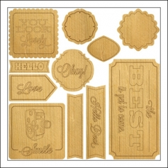 Studio Calico Wood Veneer Tags and Plates Darling Dear Collection