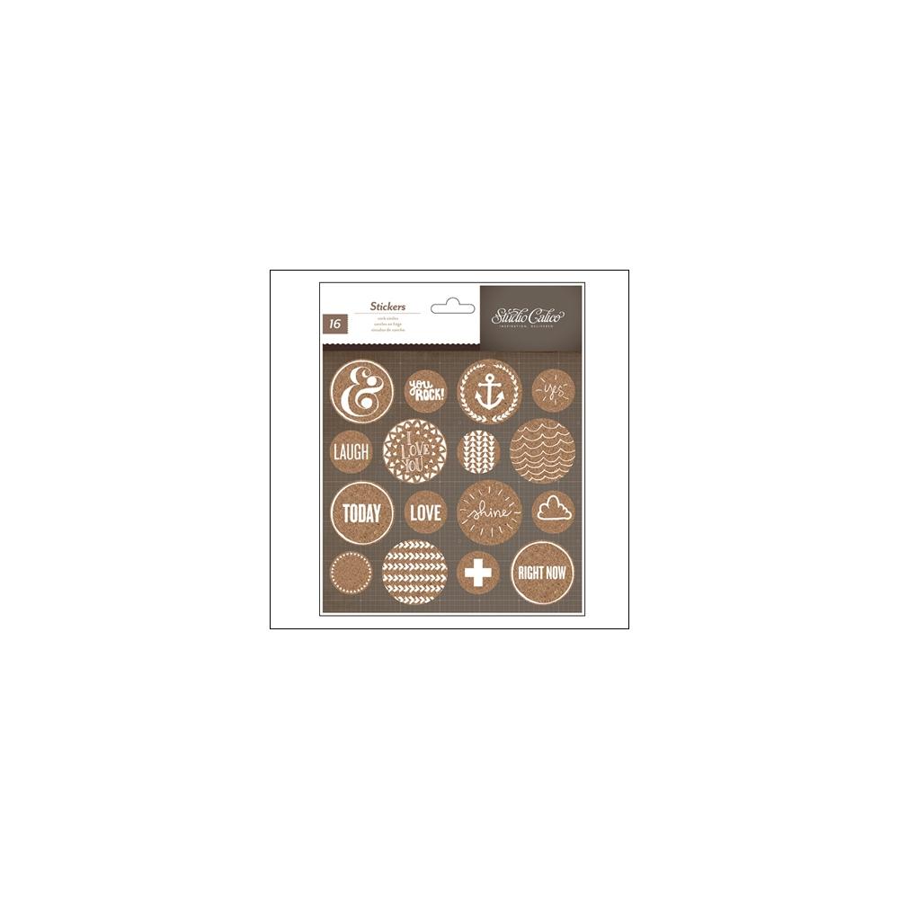 Studio Calico Cork Stickers Circles Atlantic Collection