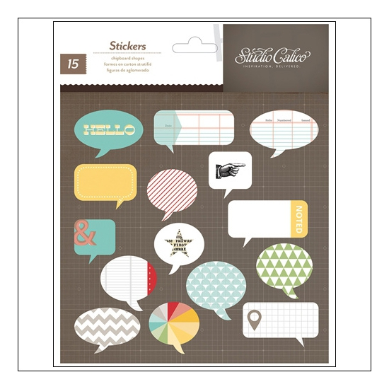 Studio Calico Chipboard Shapes Speech Bubbles Snippets Collection