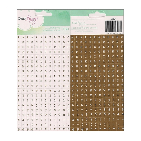 American Crafts Mini Alpha Stickers Schmutz 5th and Frolic Collection by Dear Lizzy
