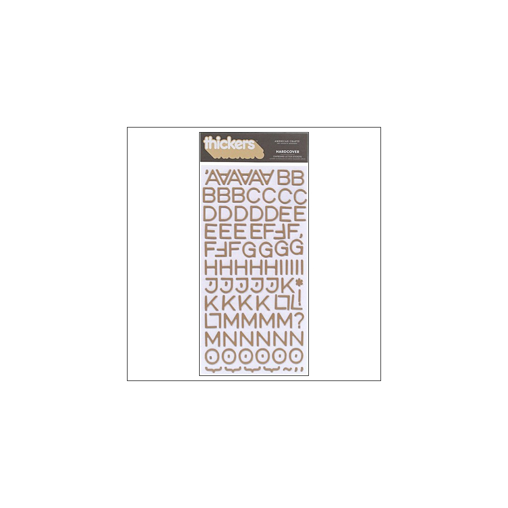 American Crafts Thicker Stickers Chipboard Hardcover Sugar Brown