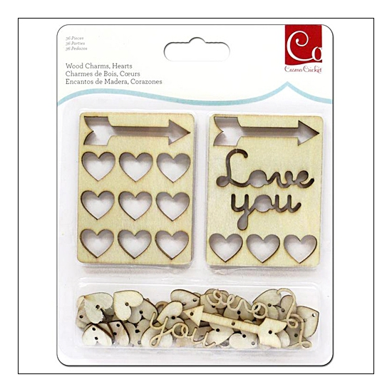 Cosmo Cricket Wood Charms Hearts