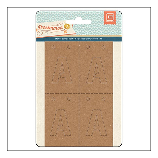Basic Grey Stencil Alphabet Kraft Persimmon Collection