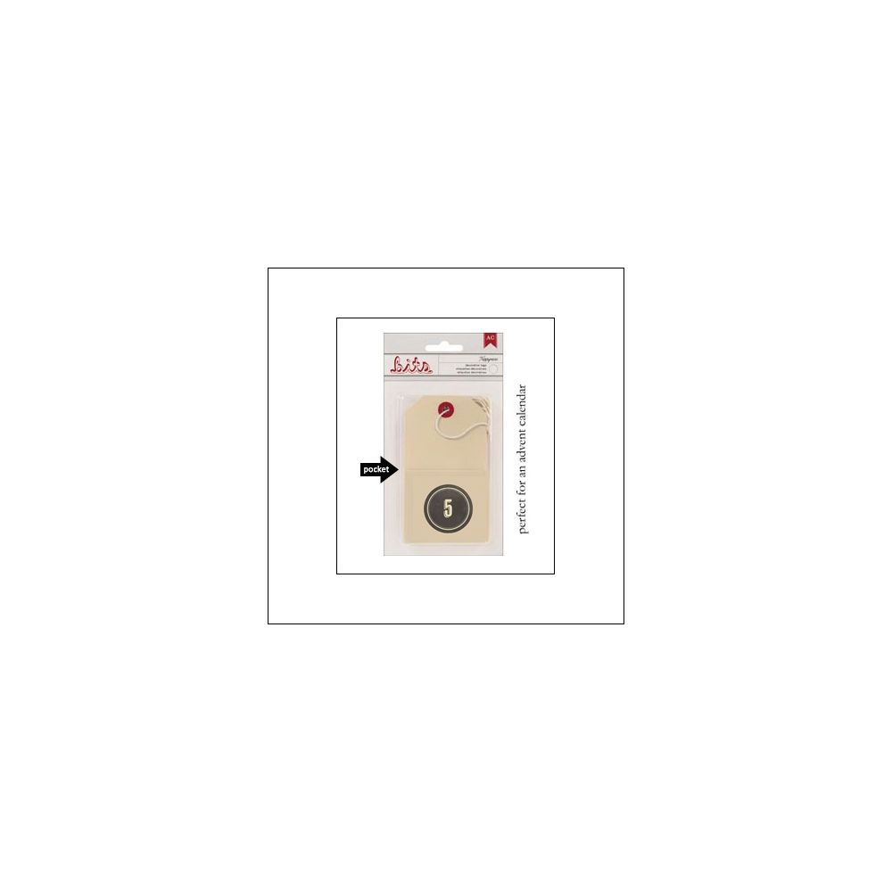American Crafts Bits Envelope Tag Nippynose Number 5 Kringle and Co Collection