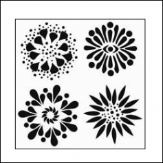 The Crafters Workshop Mini Template 6x6 4 Flowers by Balzer Designs