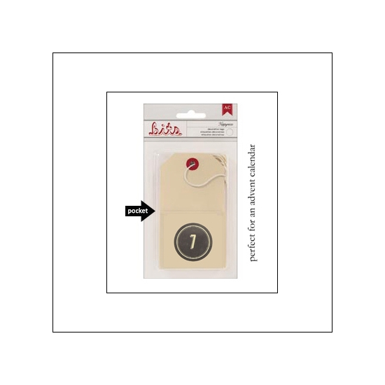 American Crafts Bits Envelope Tag Nippynose Number 7 Kringle and Co Collection
