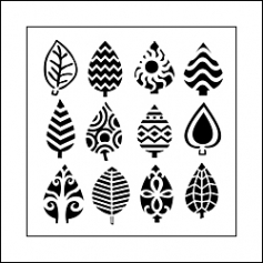 The Crafters Workshop Mini Template 6x6 Abstract Leaves by Ronda Palazzari