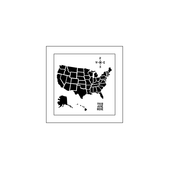 The Crafters Workshop Mini Template 6x6 US Map by Balzer Designs