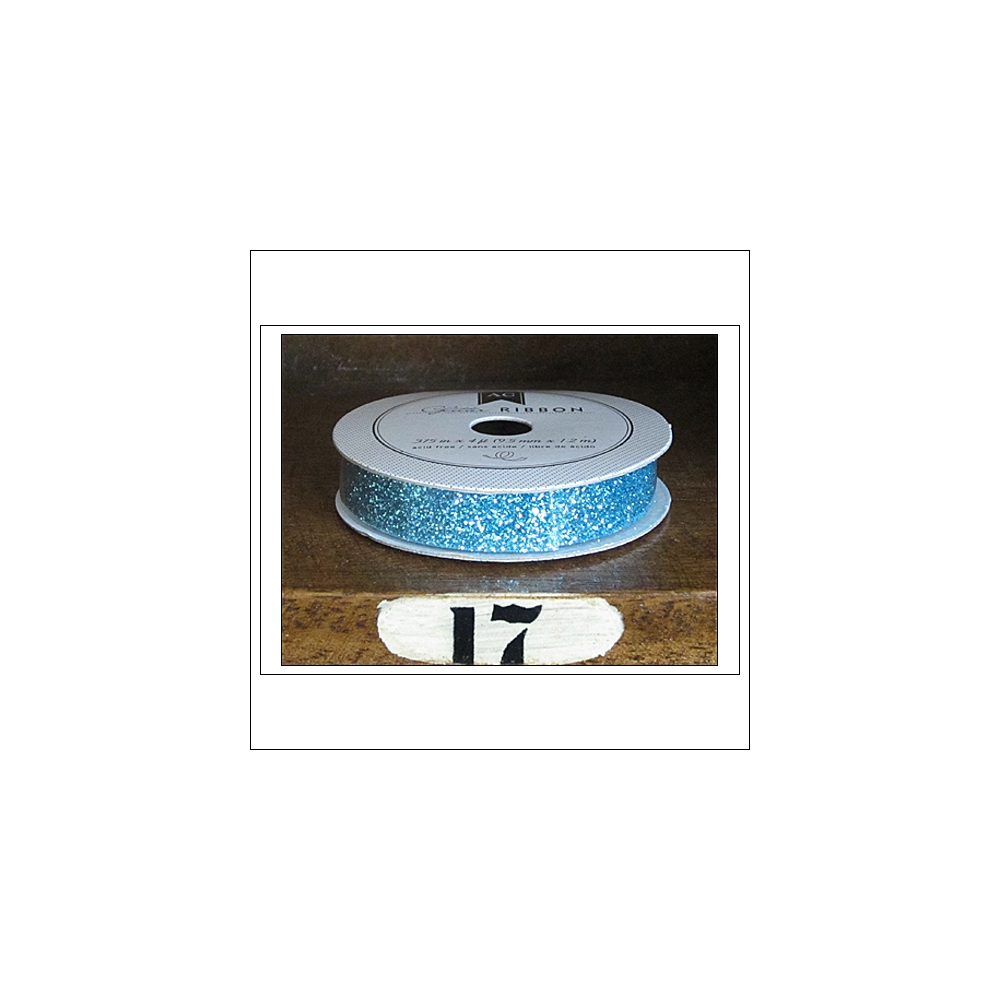 American Crafts Premium Ribbon Spool Extra Fine Glitter Blue Kringle and Co Collection