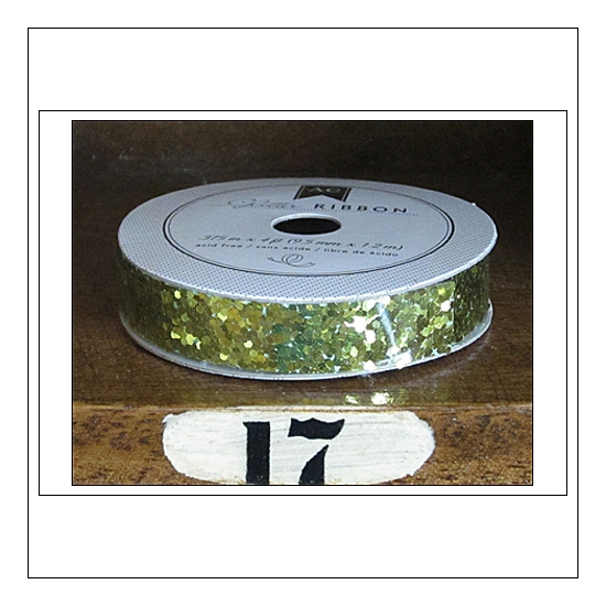 American Crafts Premium Ribbon Spool Chunky Glitter Yellow Gold Kringle and Co Collection
