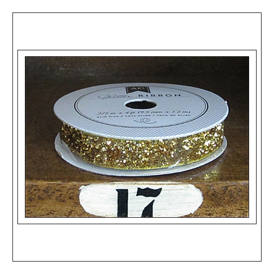American Crafts Premium Ribbon Spool Glitter Gold Kringle and Co Collection