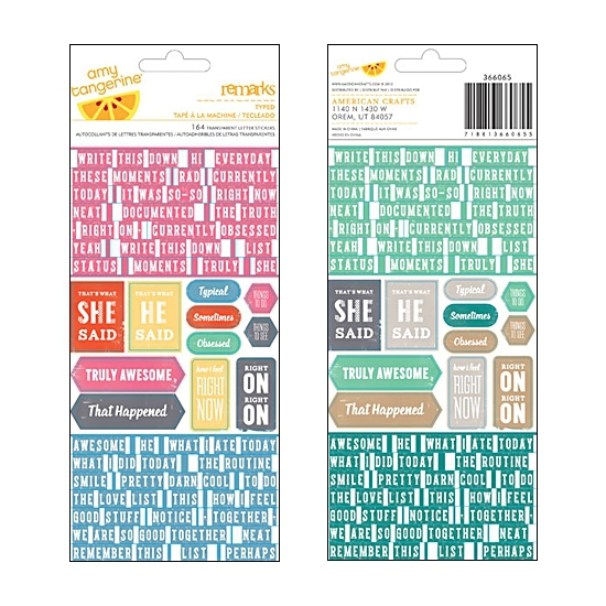 American Crafts Remarks Typed Transparant Letter Stickers Cut and Paste Collection by Amy Tangerine