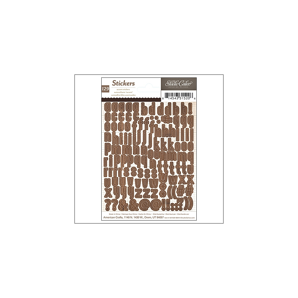 Studio Calico Tiny Alphabet Stickers Brown That a Way Collection