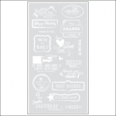 Basic Grey Rub Ons Greetings White Basics Collection