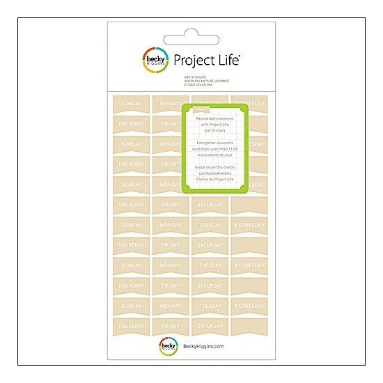 American Crafts Project Life Day Stickers Tan by Becky Higgins