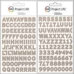 American Crafts Project Life Uppercase Alphabet and Number Stickers Gray by Becky Higgins
