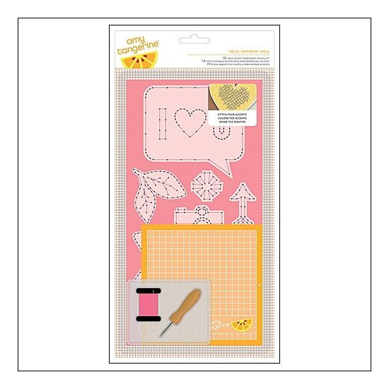 American Crafts Embroidery Stencil Kit Hello Cut and Paste Collection by Amy Tangerine