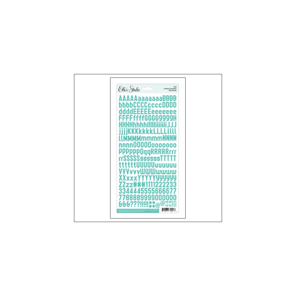 Elles Studio Letters and Numbers Stickers Teal