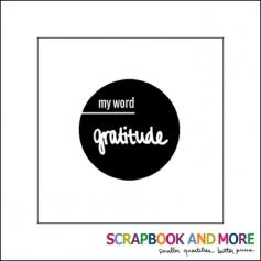 Scrapbook and More Badge Button Black My Word Gratitude