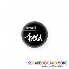 Scrapbook and More Badge Button Black My Word Bold