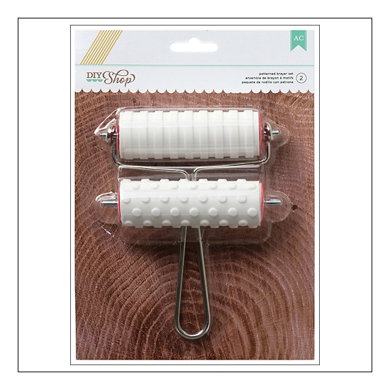 American Crafts Large Patterned Brayer Set Stripes and Dots DIY Shop Collection