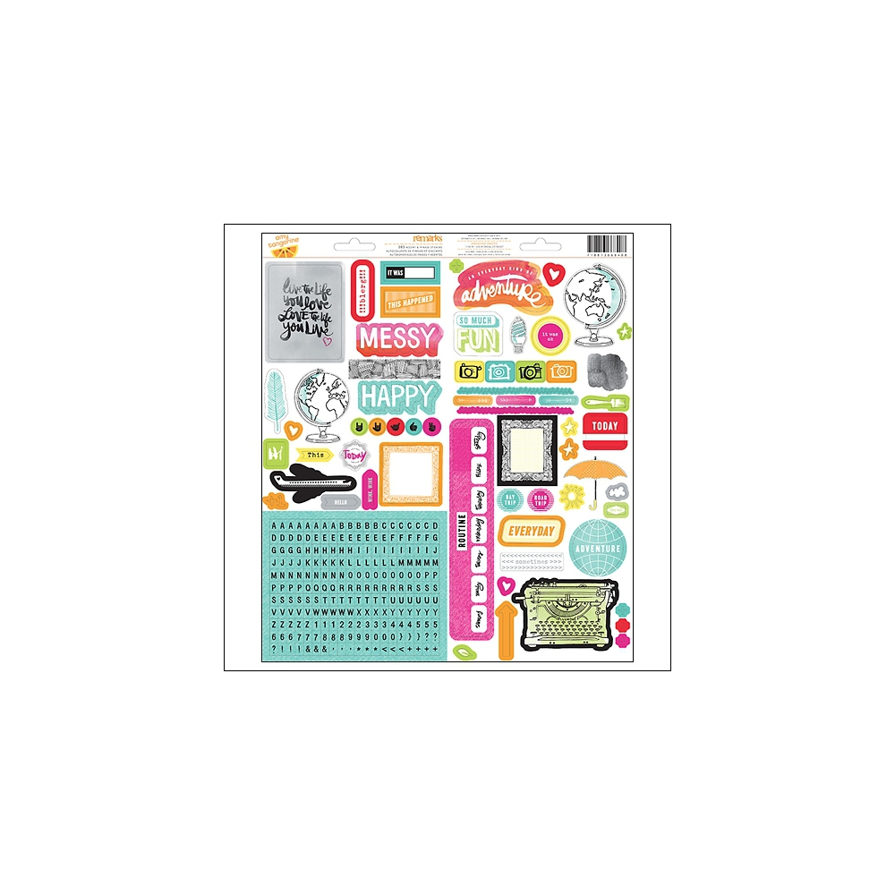 American Crafts Remarks Accent and Phrase Stickers Plus One Collection by Amy Tangerine