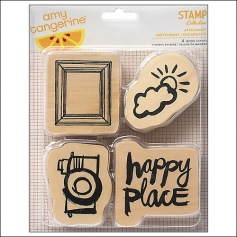 American Crafts Wood Mounted Stamps Attendant Plus One Collection by Amy Tangerine