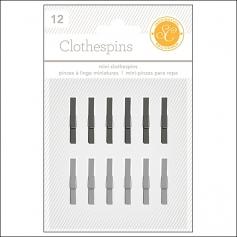 Studio Calico Clothespins Black and Gray Essentials Collection