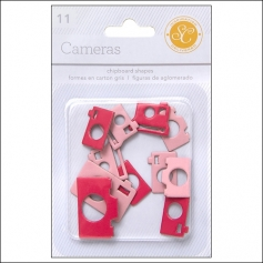 Studio Calico Chipboard Cameras Red and Pink Essentials Collection