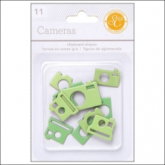 Studio Calico Chipboard Cameras Greens Essentials Collection