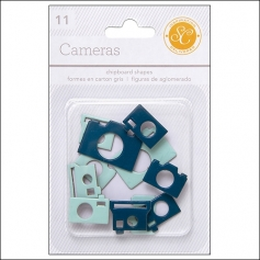 Studio Calico Chipboard Cameras Blue and Aqua Essentials Collection