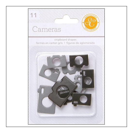 Studio Calico Chipboard Cameras Black and Grey Essentials Collection