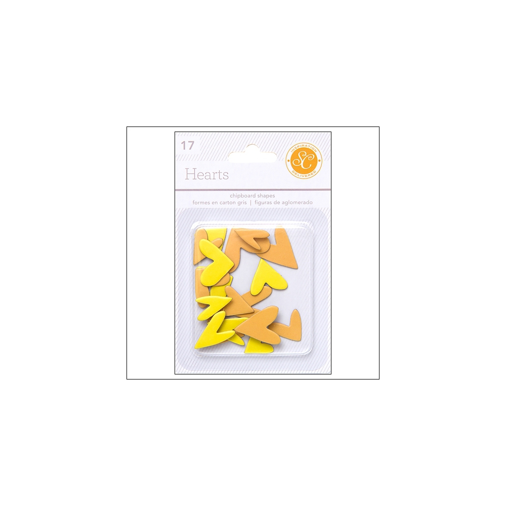 Studio Calico Chipboard Hearts Yellow and Orange Essentials Collection