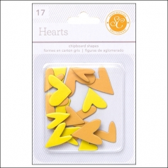 Studio Calico Chipboard Hearts Yellow and Orange Essentials Collection