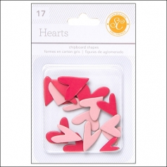 Studio Calico Chipboard Hearts Red and Pink Essentials Collection