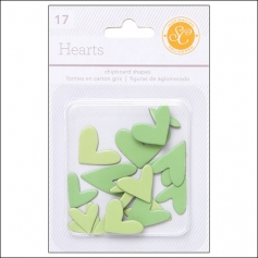 Studio Calico Chipboard Hearts Greens Essentials Collection